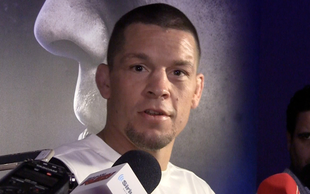 Nate Diaz, who will fight Conor McGregor in Saturday's UFC 196 main event in Las Vegas, reacts calmly to reporters' questions about McGregor's talk leading up to their welterweight battle at a new ...