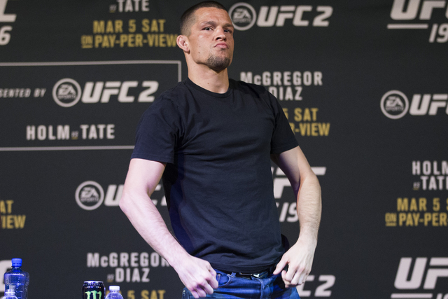 UFC fighter Nate Diaz poses during the UFC 196 press conference at the MGM Grand casino-hotel on Thursday, March 3, 2016, in Las Vegas. Erik Verduzco/Las Vegas Review-Journal Follow @Erik_Verduzco