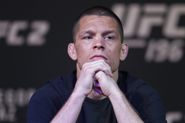 UFC fighter Nate Diaz looks on during the UFC 196 press conference at the MGM Grand casino-hotel on Thursday, March 3, 2016, in Las Vegas. Erik Verduzco/Las Vegas Review-Journal Follow @Erik_Verduzco