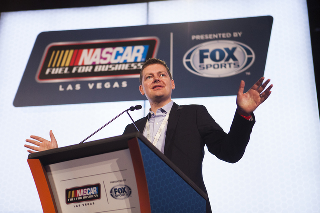 "Brian Davis, vice president of business development at Allegiant, announces a new sponsorship agreement between the airline and NASCAR on Thursday, March 3, 2016 at The Cosmopolitan Las Vegas. ""We ..."