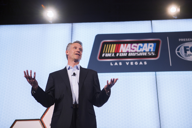 "Steve Phelps, chief marketing officer for NASACR, discusses a new sponsorship agreement between the Allegiant Air and NASCAR on Thursday, March 3, 2016 at The Cosmopolitan Las Vegas. ""Our fans are ..."