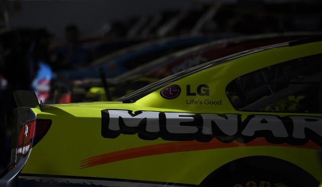 The car driven by Paul Menard (27) is seen in the Neon Garage before the start of the Kobalt 400 at Las Vegas Motor Speedway in Las Vegas Sunday, March. 6, 2016. Josh Holmberg/Las Vegas Review-Journal