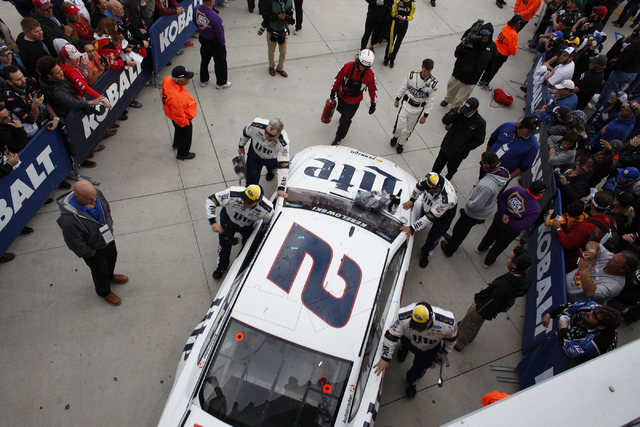 Brad Keselowski's car is pushed past spectators after he won the Kobalt 400 at Las Vegas Motor Speedway in Las Vegas Sunday, March 6, 2016. Rachel Aston/Las Vegas Review-Journal Follow @rookie__rae