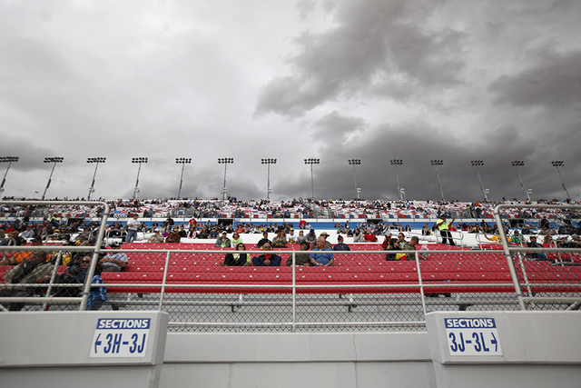 Crowds wait before the start of the Kobalt 400 at Las Vegas Motor Speedway in Las Vegas Sunday, March. 6, 2016. Rachel Aston/Las Vegas Review-Journal Follow @rookie__rae
