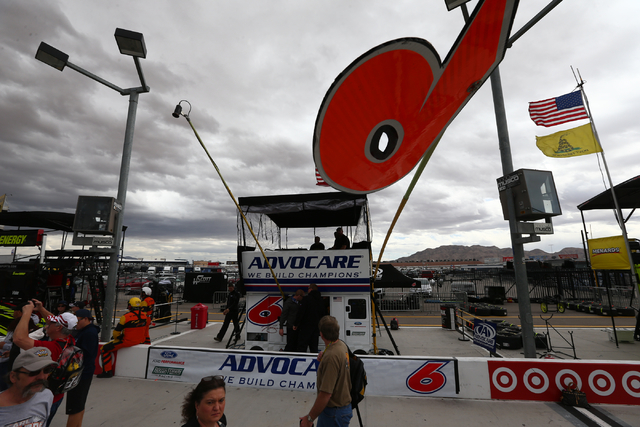 People pass by the pit stop for Trevor Bayne (6) during the NASCAR Sprint Cup Series Kobalt 400 race at the Las Vegas Motor Speedway in Las Vegas on Sunday, March 6, 2016. Chase Stevens/Las Vegas  ...