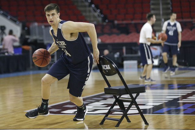 Butler's Kellen Dunham runs drills during practice for a first-round men's college basketball game in the NCAA  Tournament  Raleigh, N.C., Wednesday, March 16, 2016. Butler plays Texas Tech on Thu ...