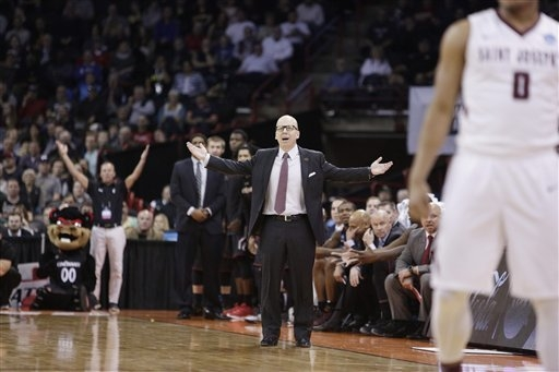 Cincinnati head coach Mick Cronin reacts during the second half of a first-round men's college basketball game against Saint Joseph's in the NCAA Tournament in Spokane, Wash., Friday, March 18, 20 ...
