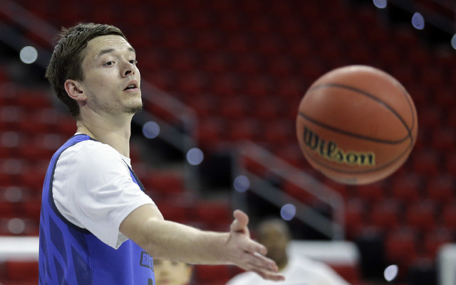 Florida Gulf Coast's Christian Terrell passes during practice for an NCAA college basketball first-round men's tournament game in Raleigh, N.C., Wednesday, March 16, 2016. Florida Gulf Coast plays ...