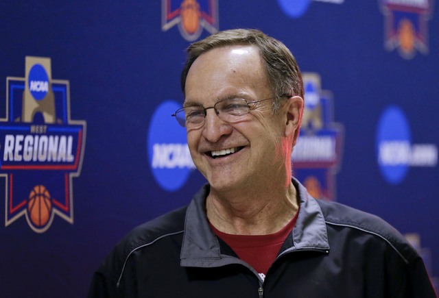 Oklahoma coach Lon Kruger speaks during a news conference about the team's regional final against Oregon on Saturday in the NCAA men's college basketball tournament, Friday, March 25, 2016, in Ana ...