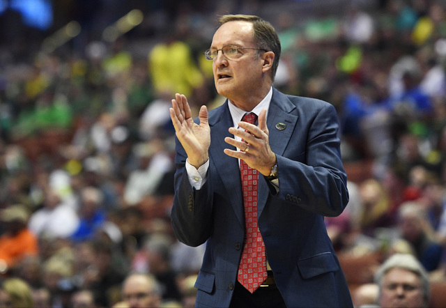 Oklahoma head coach Lon Kruger watches during the second half of an NCAA college basketball game against Texas A&M in the regional semifinals of the NCAA Tournament, Thursday, March 24, 2016,  ...