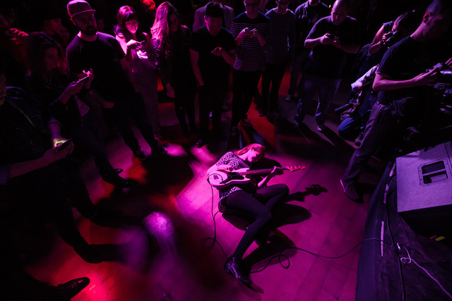 Katy Goodman of La Sera gets into the crowd while performing at the Bunkhouse Saloon during the first night of the Neon Reverb music festival in downtown in Las Vegas on Thursday, March 10, 2016.  ...