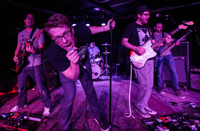 Frontman John Coulter, second from left, performs with Moonboots at the Bunkhouse Saloon during the first night of the Neon Reverb music festival in downtown in Las Vegas on Thursday, March 10, 20 ...