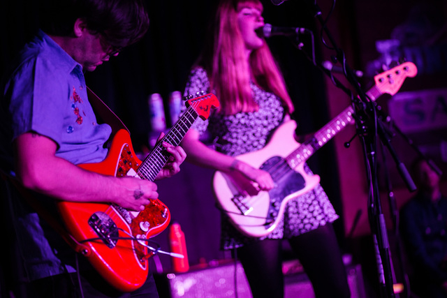 Todd Wisenbaker , left, and Katy Goodman of La Sera perform at the Bunkhouse Saloon during the first night of the Neon Reverb music festival in downtown in Las Vegas on Thursday, March 10, 2016. T ...