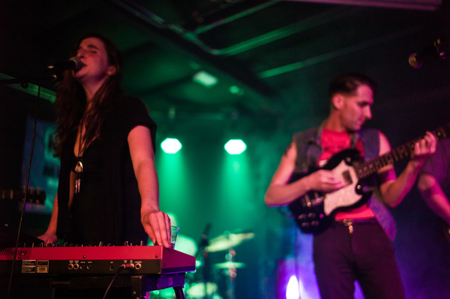 Sarah Leigh, left, and Aaron Leigh of Babes perform at the Bunkhouse Saloon during the first night of the Neon Reverb music festival in downtown in Las Vegas on Thursday, March 10, 2016. The festi ...