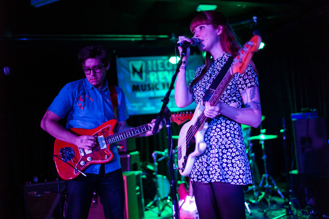 Katy Goodman, right, and Todd Wisenbaker of La Sera perform at the Bunkhouse Saloon during the first night of the Neon Reverb music festival in downtown in Las Vegas on Thursday, March 10, 2016. T ...