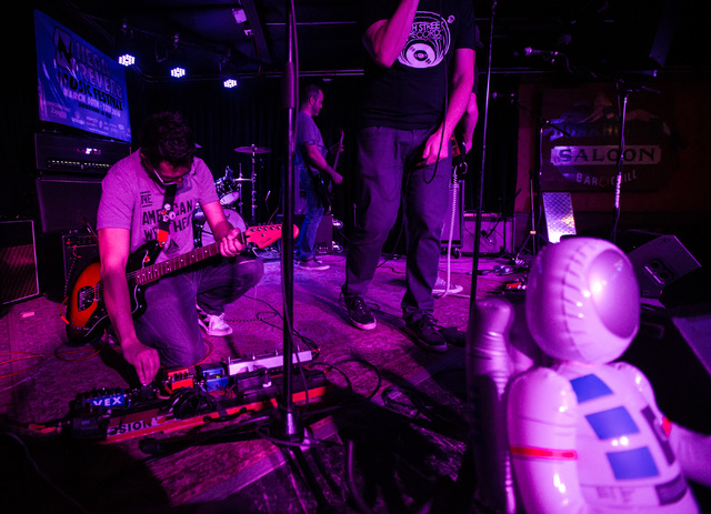 Moonboots perform at the Bunkhouse Saloon during the first night of the Neon Reverb music festival in downtown in Las Vegas on Thursday, March 10, 2016. The festival runs through Sunday, with doze ...