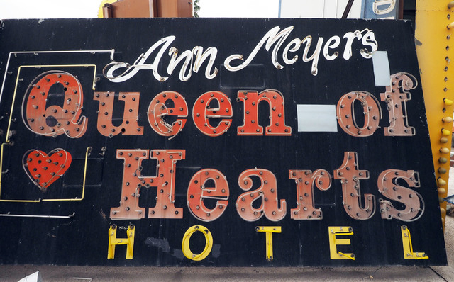 A sign from Ann Meyers Queen of Hearts Hotel is seen at the Neon Museum, 770 Las Vegas Blvd. North, in Las Vegas, Friday, March 11, 2016. Jerry Henkel/Las Vegas Review-Journal