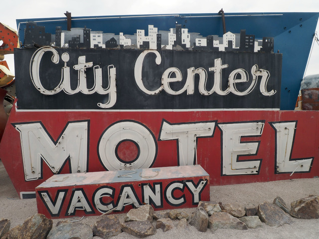"Betty Willis' City Center Motel sign, part of the Neon Museum's ""Motel Row,"" is among the signs highlighted during Women's History Month tours at the museum's Neon Boneyard. Jerry Henkel/Las Vegas ..."