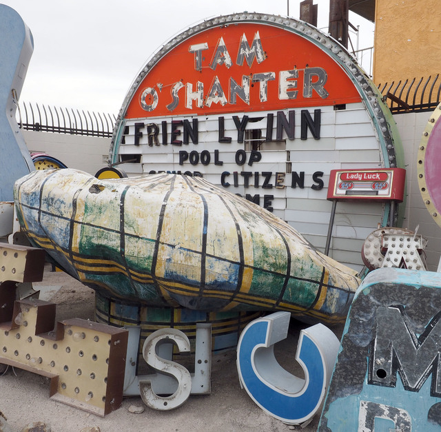 "The Neon Museum's ""Motel Row,"" including the Tam O'Shanter's trademark hat, debuts a new look this week after some ""refreshing,"" according to museum officials. Jerry Henkel/Las Vegas Review-Journal"