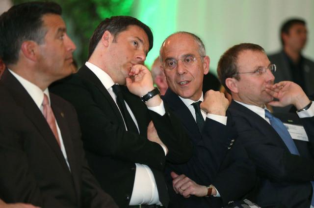 From left, Nevada Gov. Brian Sandoval, Italy's Prime Minister Matteo Renzi, Enel CEO Francesco Starace and Enel Green Power CEO Francesco Venturini attend an inauguration ceremony at Enel Green Po ...