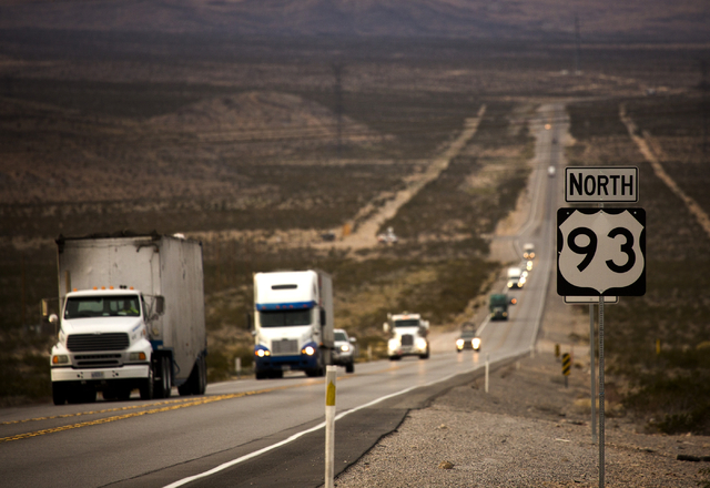 Vehicles travel along U.S. Highway 93 at Apex on Wednesday, Dec. 9, 2015. Gov. Brian Sandoval will announce Thursday in Las Vegas that the electric car maker Faraday Future will build its $1 billi ...