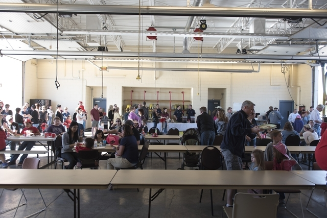 The community gathers for a pancake breakfast event at North Las Vegas Fire Department's Fire Station on Feb. 13, 2016. (Jason Ogulnik/Las Vegas Review-Journal)