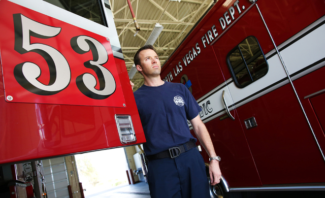 "Capt. Aric Neuharth at the North Las Vegas Fire Department Station 53, 2804 W. Gowan Road on Sunday, March 6, 2016. ""We took a big hit with the budget cuts,"" he said, ""but we're still responding t ..."