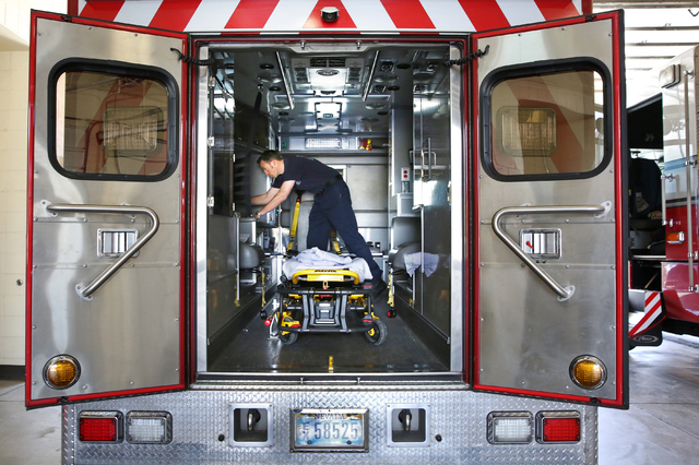 Capt. Aric Neuharth checks supplies on the paramedic vehicle at the North Las Vegas Fire Department Station 53, 2804 West Gowan Road, Sunday, March 6, 2016. (Benjamin Hager/Las Vegas Review-Journa ...