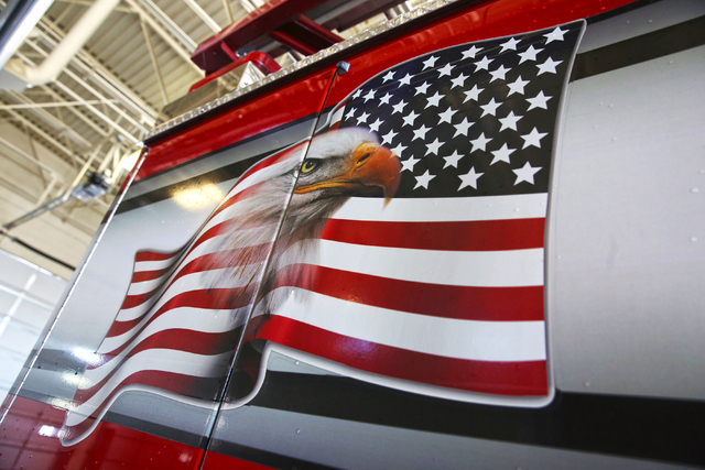 The bald eagle and American flag painted on the side of a rescue vehicle at the North Las Vegas Fire Department Station 53, 2804 W. Gowan Road, Sunday, March 6, 2016. (Benjamin Hager/Las Vegas Rev ...