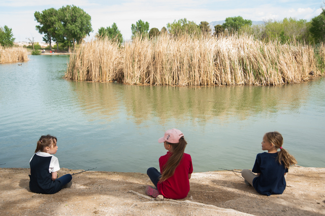 First grade students, from left, Kaeli Sjostrom, 6, Kiera Schwurack, 7, and Zoie Ashcroft, 7, from Pinecrest Academy in Henderson, Nev., learn how to fish at Floyd Lamb Park at Tule Springs in Las ...
