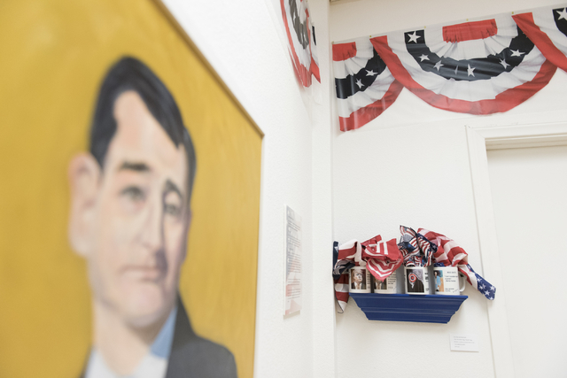 """Art hangs on the walls at the """"MUG SHOTS #3"""" group show at Left of Center Art Gallery March 12. Jason Ogulnik/View"""