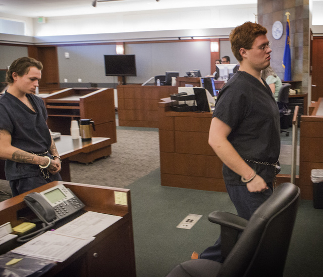 Defendants Erich Nowsch, left, and Derrick Andrews exit court after a hearing at the Regional Justice Center on Thursday, May 21,2014. Nowsch is accused in the Feb. 12 slaying of Tammy Meyers whil ...