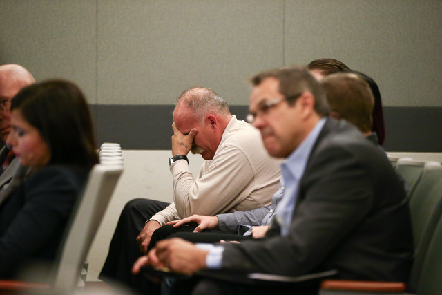 Bob Meyers reacts as Erich Nowsch pleads guilty to the murder of Tammy Meyers, wife of Bob Meyers, at Regional Justice Center in Las Vegas on Friday, March 4, 2016. Chase Stevens/Las Vegas Review- ...