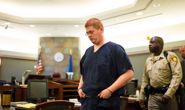 Derrick Andrews enters the courtroom before pleading guilty to the murder of Tammy Meyers at Regional Justice Center in Las Vegas on Friday, March 4, 2016. Chase Stevens/Las Vegas Review-Journal F ...