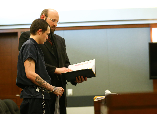 Erich Nowsch, with his defense lawyer Augustus Claus, pleads guilty to the murder of Tammy Meyers at Regional Justice Center in Las Vegas on Friday, March 4, 2016. Chase Stevens/Las Vegas Review-J ...