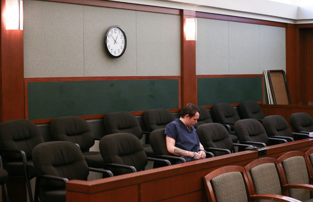 Erich Nowsch sits in the courtroom before pleading guilty to the murder of Tammy Meyers at Regional Justice Center in Las Vegas on Friday, March 4, 2016. Chase Stevens/Las Vegas Review-Journal Fol ...