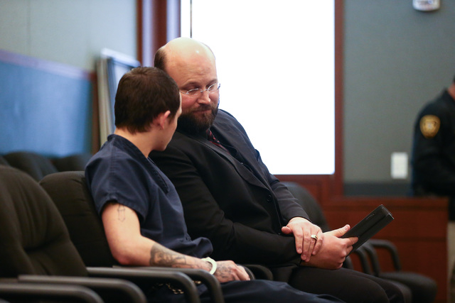 Erich Nowsch, left, talks with his defense lawyer Augustus Claus before pleading guilty to the murder of Tammy Meyers at Regional Justice Center in Las Vegas on Friday, March 4, 2016. Chase Steven ...