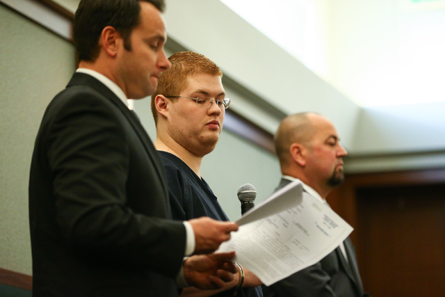 Derrick Andrews pleads guilty to voluntary manslaughter in the death of Tammy Meyers at Regional Justice Center in Las Vegas on Friday, March 4, 2016. Chase Stevens/Las Vegas Review-Journal Follow ...