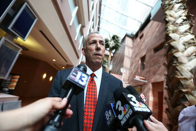 Clark County District Attorney Steve Wolfson talks with reporters following guilty pleas from Erich Nowsch and Derrick Andrews in the death of Tammy Meyers at Regional Justice Center in Las Vegas  ...