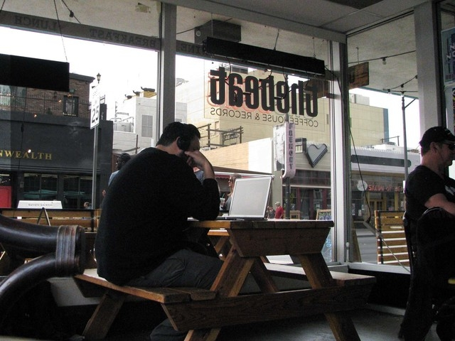 Louis Delgado works on prototyping an app while drinking coffee in The Beat, 520 E. Fremont St., in downtown Las Vegas March 14. F. Andrew Taylor/View