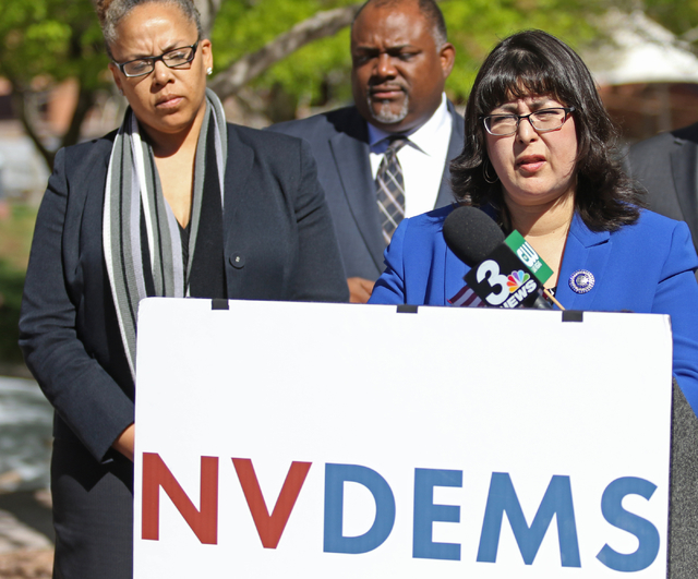 Assembly Democratic Caucus Chairwoman Irene Bustamante, right, speaks to the news media prior to filing to run for re-election to her Assembly District 42 seat at Clark County Government Center Fr ...