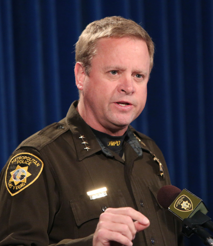 Undersheriff Kevin McMahill speaks about the shooting of James Nelson, 21, of Las Vegas during a press conference Friday, Feb. 13, 2015, at Las Vegas Metropolitan Police Headquarters. (Bizuayehu T ...