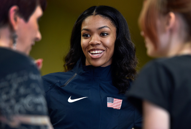 Bishop Gorman high jumper Vashti Cunningham smiles as she speaks with people after a news conference at Remnant Ministries Monday, March 21, 2016, in Las Vegas. Cunningham announced she is turning ...