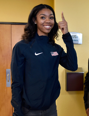 Bishop Gorman high jumper Vashti Cunningham gestures after a news conference at Remnant Ministries Monday, March 21, 2016, in Las Vegas. Cunningham announced she is turning professional by signing ...
