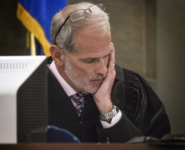 District Judge Douglas Herndon pauses before sentencing Michelle Paet at Regional Justice Center on Thursday, March 3, 2016.  Herndon sentence Paet  life in prison for killing her husband Nellis A ...