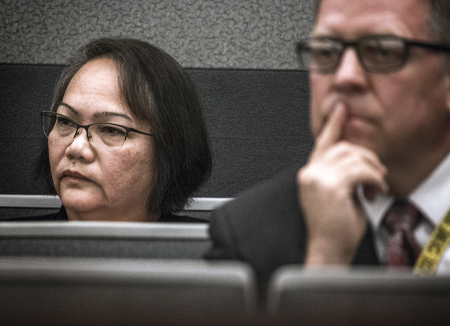 Carmelita Paet sits during the sentencing  of her daughter-in-law Michelle Paet at Regional Justice Center on Thursday, March 3, 2016. Michelle Paet  received life in prison for killing her husban ...