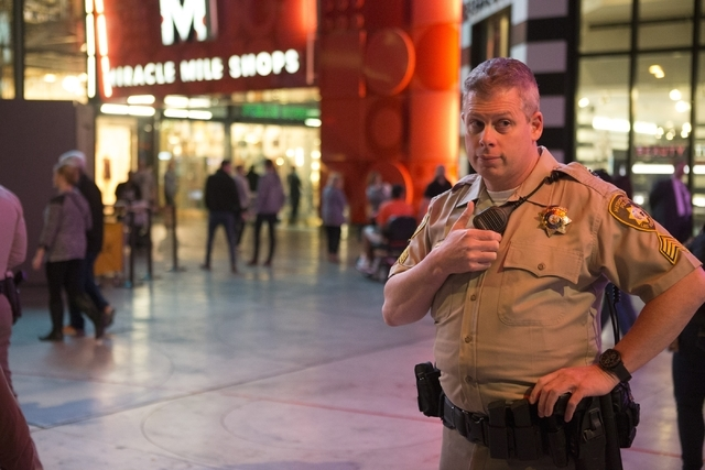 Las Vegas police Sgt. William Jones patrols the Strip near Planet Hollywood casino-hotel during his afternoon shift on Friday, Feb. 12, 2016, in Las Vegas. Erik Verduzco/Las Vegas Review-Journal F ...