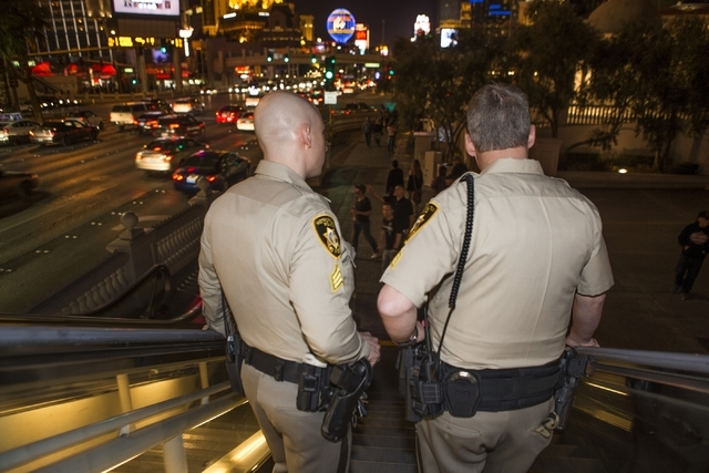 Las Vegas police Sgt. Bill Steinmetz, left, and Sgt. William Jones patrol the Strip near Planet Hollywood casino-hotel during their afternoon shift on Friday, Feb. 12, 2016, in Las Vegas. Erik Ver ...