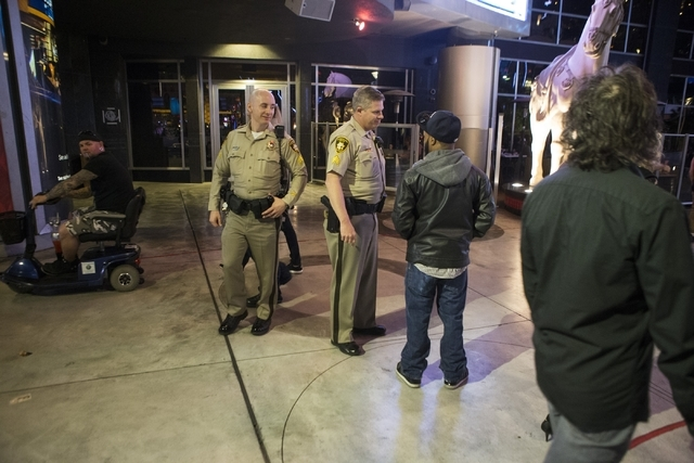 Las Vegas police Sgt. Bill Steinmetz, left, and Sgt. William Jones patrol the Strip near Planet Hollywood casino-hotel during their afternoon shift on Friday, Feb. 12, 2016, in Las Vegas. Erik Ver ...