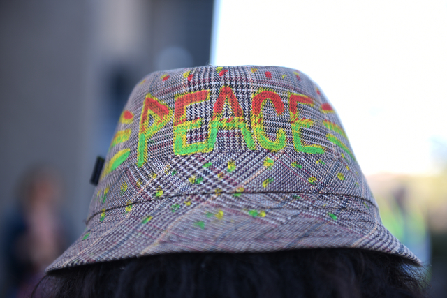 A peace walker's hat is shown just before a 60-mile pilgrimage starting from the National Atomic Testing Museum in Las Vegas to the Nevada Test Site during the annual Sacred Peace Walk on Sunday,  ...